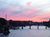 Paris: Seine, Pont Neuf, Ableger, Fähre, Sonnenuntergang.