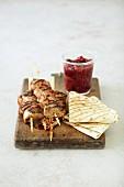 Turkey kebabs with plum chutney and unleavened bread