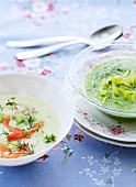 Cold cucumber soup with salmon and cold lettuce soup