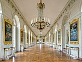 View of hall painting and chandelier at Versailles Palace, Paris, France