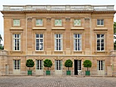 View of Versailles courtyard from the outside of Versailles Palace, France