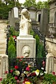 Grave of Frederic Chopin in Pere Lachaise in Paris, France