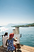 Rear view of artist painting the Lake Lucerne and the Alps on canvas, Lucerne, Switzerland