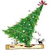 Illustration, umstürzender Weihnachtsbaum