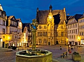 View of building exterior and market square at Marburg, Hesse, Germany