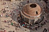 Tourists around Onofrio Fountain in Dubrovnik, Croatia, elevated view