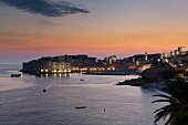 View of Dubrovnik old town at dusk in Croatia
