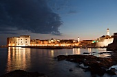illuminated Dubrovnik old town at dusk in Croatia