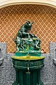 View of drinking fountains in Hotel Schwarzer Bock, Wiesbaden, Hesse, Germany