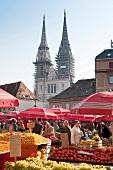 Fruit vendors at Zagreb Dolac market on Trg, Croatia