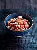 Tomato salsa with mozzarella