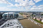 Aerial view of Westminster and river Thames from London Eye, London, UK