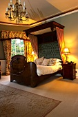 Bed with canopy in a suite of Boath House Hotel in Scotland