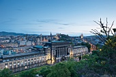 View of Edinburgh city centre at dusk , Scotland