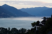 View of Lake Maggiore at Dusk, Ticino, Switzerland