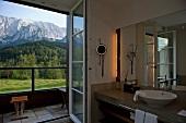 Room of Hotel Schloss Elmau overlooking view of mountains, Upper Bavaria, Germany
