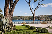 View of Cityscape and Bosporus shore from Sakip Sabanci Museum garden, Istanbul