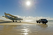 View of aircraft and car on Fraser Iceland, Queensland, Australia