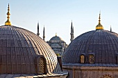 View of mosque domes of Hagia Sophia in Istanbul, Turkey