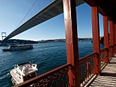 View of Fortress Bosphorus Bridge at Yali Anadolu Hisari Anatolian, Istanbul, Turkey