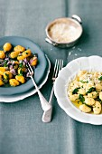 Sage gnocchi and pumpkin gnocchi with red onions