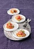 Potato cakes with salmon tartar