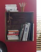 Regal, Wandregal aus Holzschublade Bücher, Kiste, Holzkiste, hängend