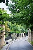 View of Swain's Lane Road near Highgate Cemetery, Camden, London, UK