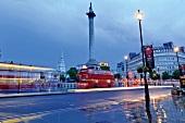 Illuminated street light, St. Martin Nelson's Column, Trafalgar Square, London, UK