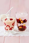 Tofu cream with raspberries, and tiramisu with cherries and peaches
