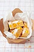 Lactose free mango tray bake cake
