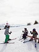 Skiers on Uri Alps in Lucerne, Switzerland