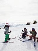 Skiers on Uri Alps in Lucerne, Switzerland