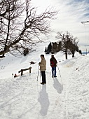 Tourist riding ski at Rigi Staffel in Uri Alps, Lake Lucerne, Switzerland