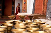 Close-up of chalices in Punakha Dzong, Bhutan