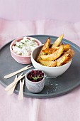 Potato wedges with two dips