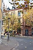 View of street in Nauwieser district, St. Johann, Saarbrucken, Saarland, Germany