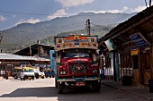 Truck in downtown at Bumthang, Bhutan