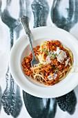Spaghetti with a lentil bolognese