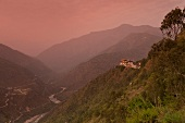 View of landscape with Tashigang at dawn, Bhutan