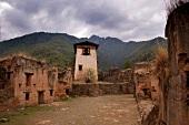 The Dzong in Paro old Drukoyel, Bhutan