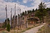 Exterior view of Uma Paro hotel with empty road, Bhutan