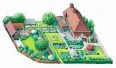 Illustration of ornamental garden with residential housea nd pergola, illustration