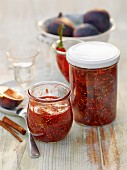 Three kinds of fig jam flavoured with cinnamon, Grappa, and chilli