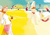 Women enjoying on beach during summer, illustration