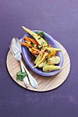 Winter vegetables in an orange broth