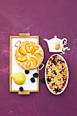 Semolina bake with peaches, and pear and blackberry crumble