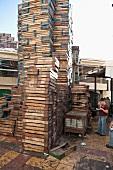 Stack of crates at Alexandria Fish Market , Alexandria, Egypt