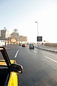 View of cars on road near Corniche in Alexandria, Egypt