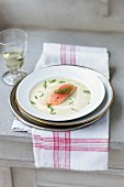 Horseradish soup with apple and poached char